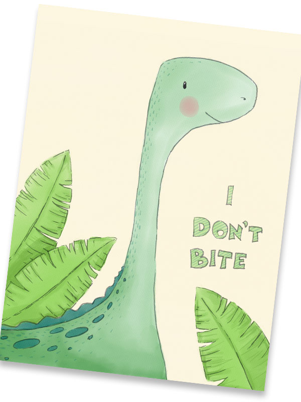 Cute Brachiosaurus Dinosaur Print – DecoBeez